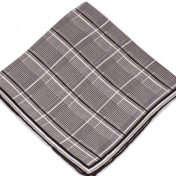 Bruno Piattelli Silk Designer Pocket Square, Plaid with Grey, White and Black