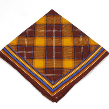 Bruno Piattelli Men's Silk Pocket Square, Plaid with Orange, Brown, and Blue