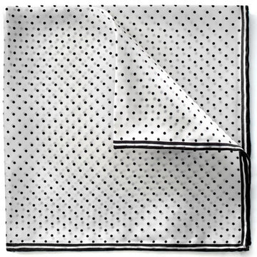 Bruno Piattelli Men's Dotted Pocket Square, White and Black