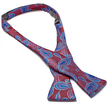 Bruno Piattelli Self Tie Silk Luxury Bow Tie, Purple, Red and Blue