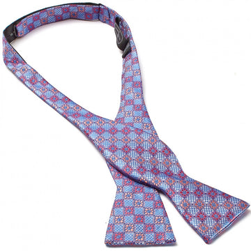 Bruno Piattelli Self Tie Silk Luxury Bow Tie, Blue, Red and Pink