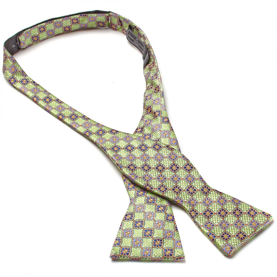 Bruno Piattelli Self Tie Silk Luxury Bow Tie, Green with Lavender