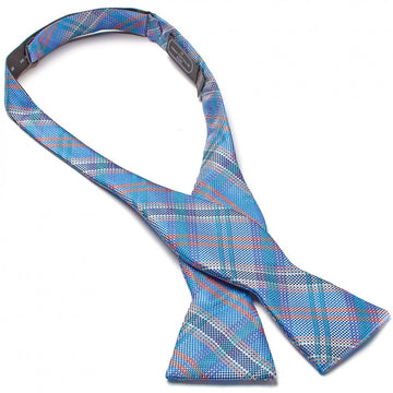 Bruno Piattelli Self Tie Silk Luxury Bow Tie, Blue Plaid - upscaleman.myshopify.com