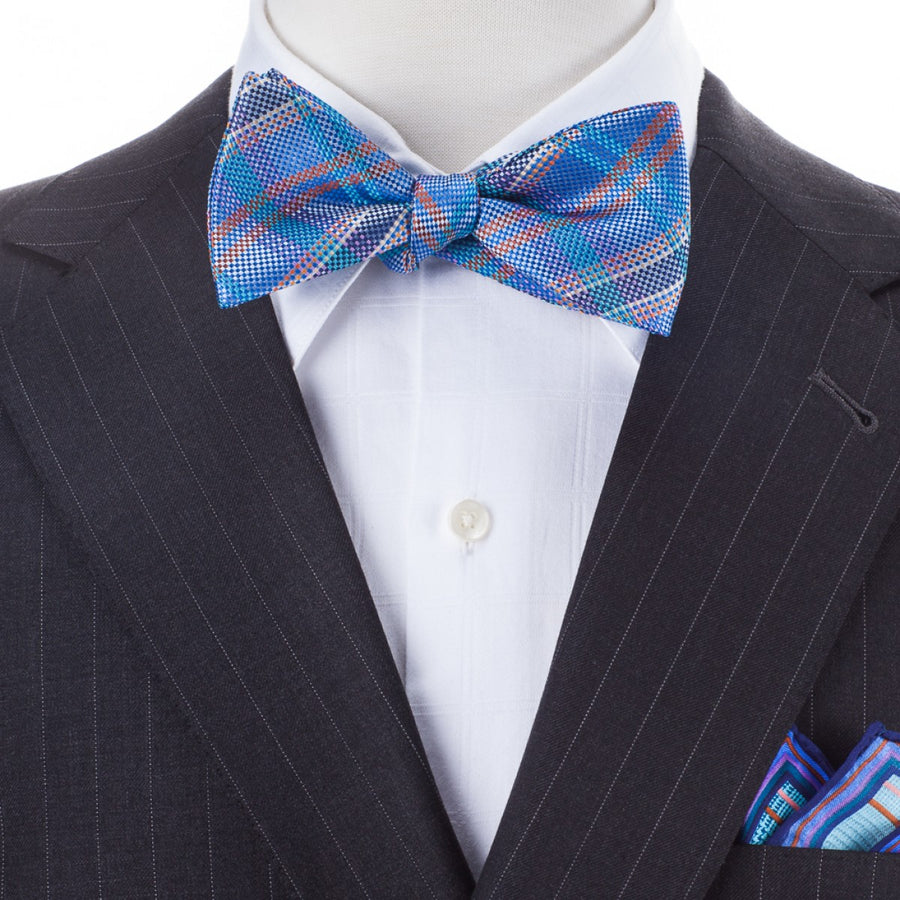 Bruno Piattelli Self Tie Silk Luxury Bow Tie, Blue Plaid