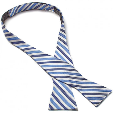Bruno Piattelli Self Tie Silk Luxury Bow Tie, Blue and White Stripes - upscaleman.myshopify.com