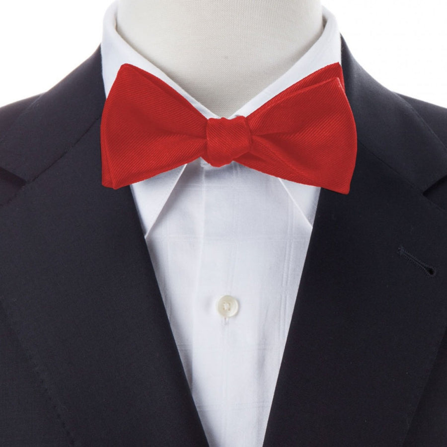 Bruno Piattelli Self Tie Silk Luxury Bow Tie, Red Silk Twill