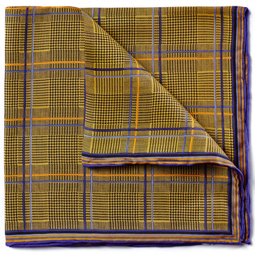Bruno Piattelli Silk Designer Pocket Square, Yellow with Blue