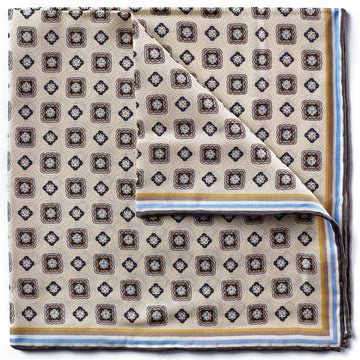 Bruno Piattelli Silk Designer Pocket Square, Ivory with Blue Mocha