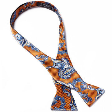Bruno Piattelli Self Tie Silk Luxury Bow Tie, Blue Paisley with Rust Accents