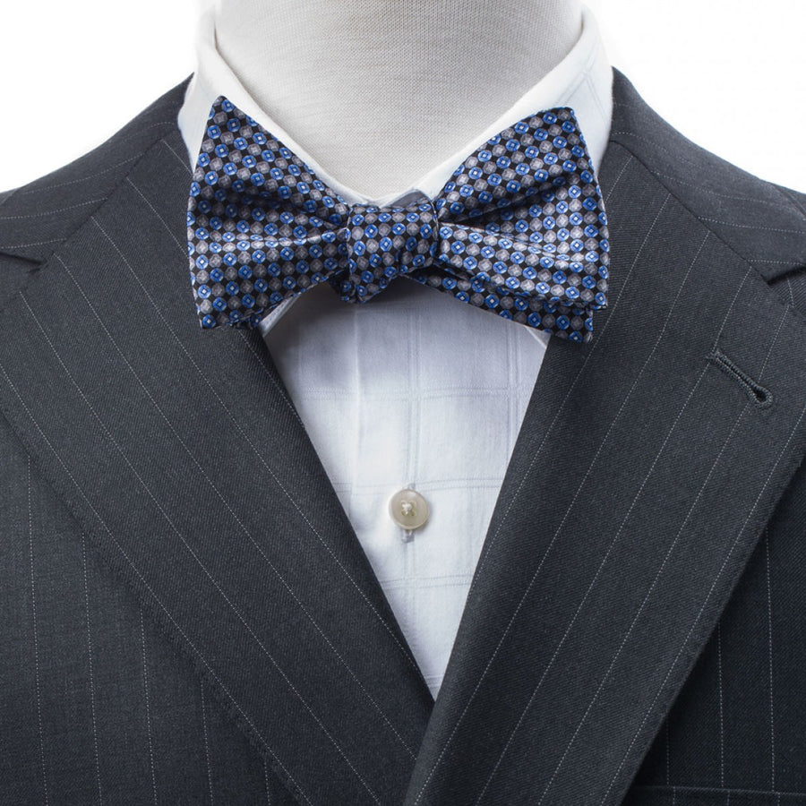 Bruno Piattelli Self Tie Silk Luxury Bow Tie, Blue with Grey Accents