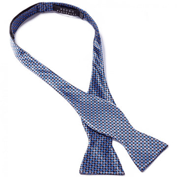 Bruno Piattelli Self Tie Silk Luxury Bow Tie, Blue with Grey Accents - upscaleman.myshopify.com