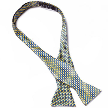 Bruno Piattelli Self Tie Silk Luxury Bow Tie, Yellow with Blue Accents - upscaleman.myshopify.com