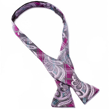 Bruno Piattelli Self Tie Silk Luxury Bow Tie, Plaid and Paisley with Purple, Grey and Lavender
