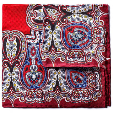 Bruno Piattelli Silk Designer Pocket Square, Red Paisley with Blue and Gold Accents