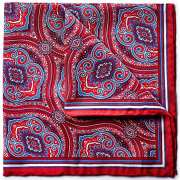 Bruno Piattelli Silk Designer Pocket Square, Blue, Red and White