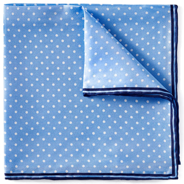 Bruno Piattelli Men's Silk Pocket Square, Purple, Light Blue with White Dots