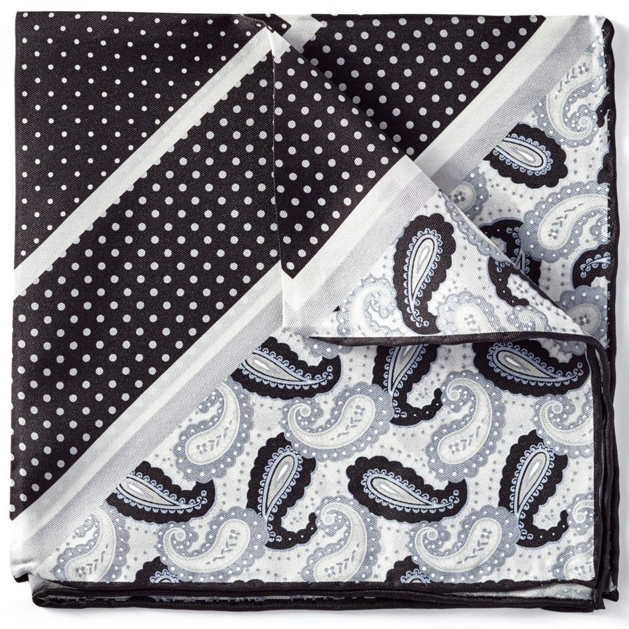 Bruno Piattelli Men's Silk Pocket Square, Black and Grey Dots and Paisley Design