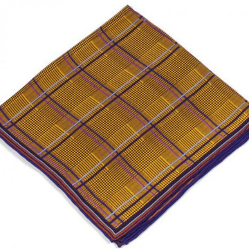 Bruno Piattelli Silk Designer Pocket Square, Plaid with Blue, Purple and Yellow