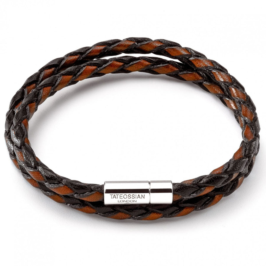Tateossian Men's Double Wrap Two-tone Scoubidou Leather Handmade Bracelet, Brown and Black