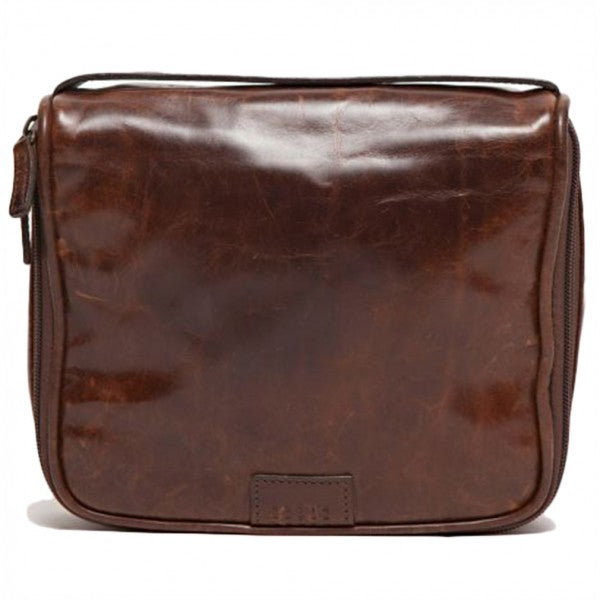 Moore and Giles Leather Donald Dop Luxury Toiletries Kit, Brown