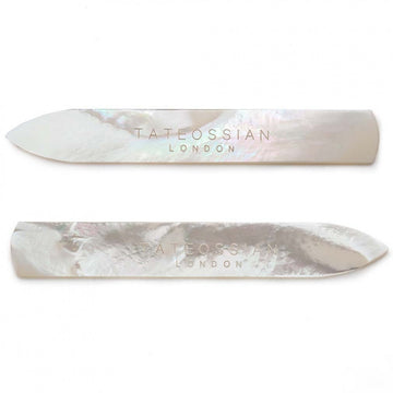 Tateossian Classic Metal Collar Stays in White Mother of Pearl