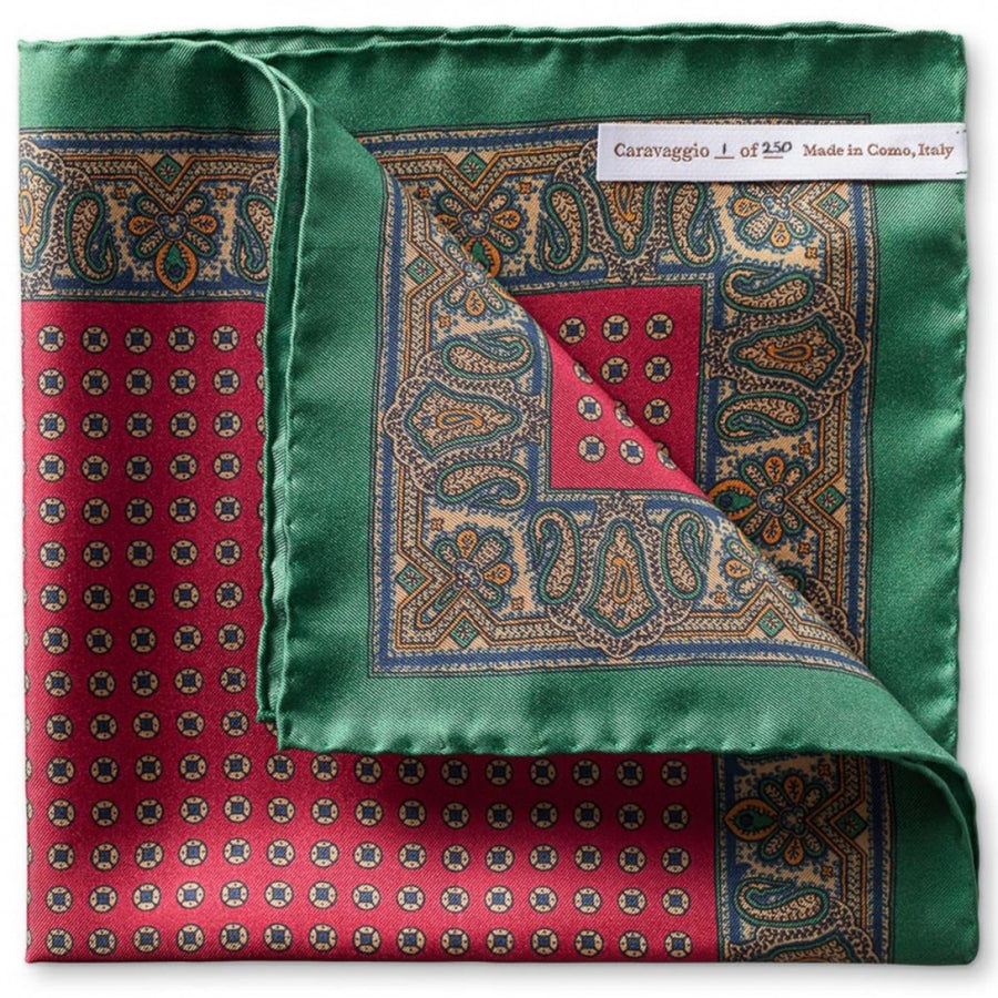 Caravaggio Men's The Firenze Series Designer Pocket Square, 16.5 Inches, Green and Red