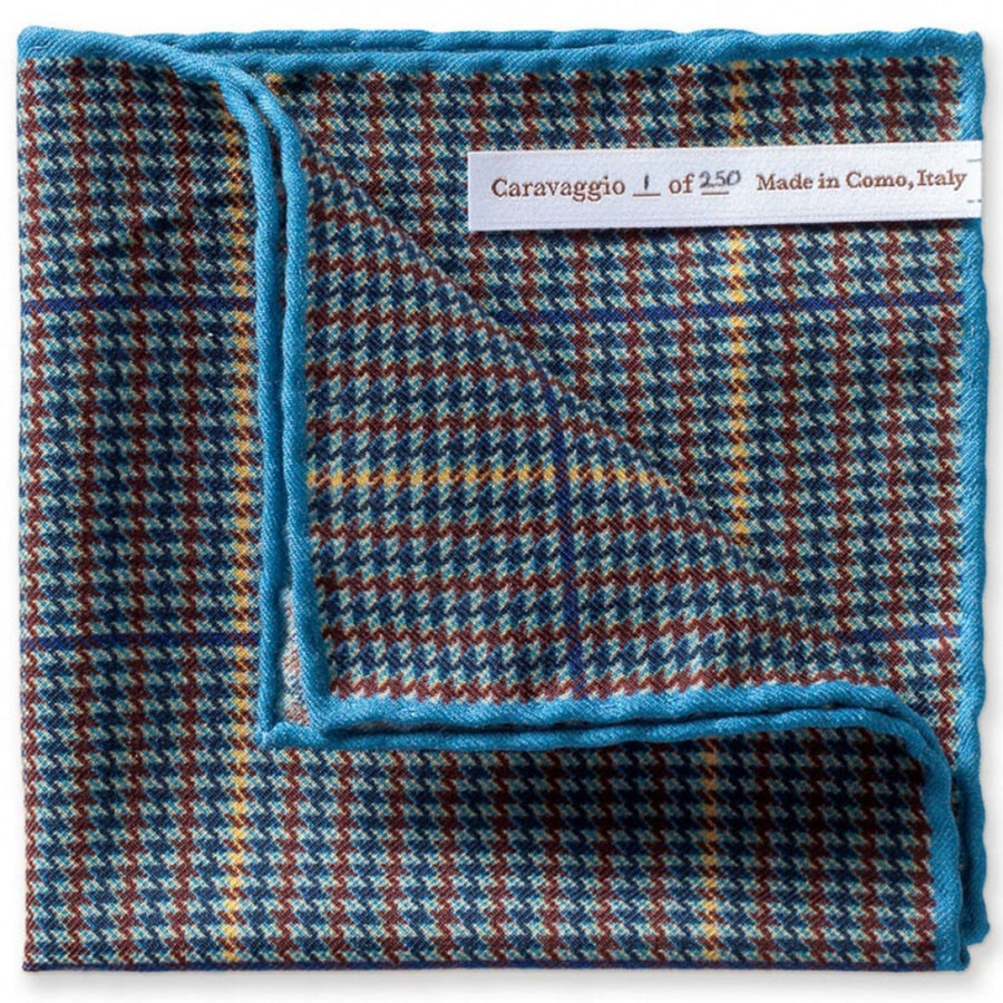 Caravaggio Men's The Biella Series Designer Pocket Square, 16.5 Inches, Blue