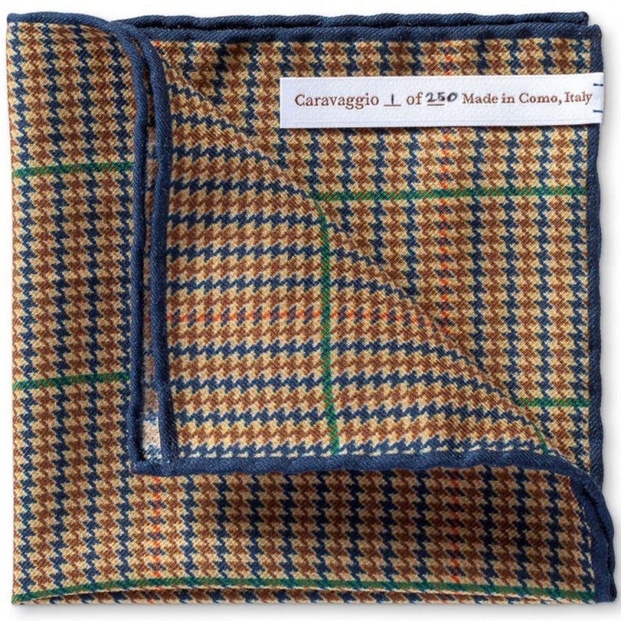 Caravaggio Men's The Biella Series Designer Pocket Square, 16.5 Inches, Yellow