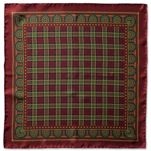 Caravaggio Men's The St. Andrews Series Designer Pocket Square, 16.5 Inches, Burgundy
