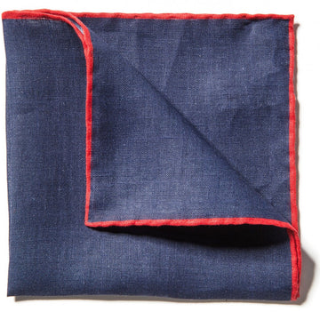 Caravaggio Men's The Linen Series Designer Pocket Square, 16.5 Inches, Blue and Red