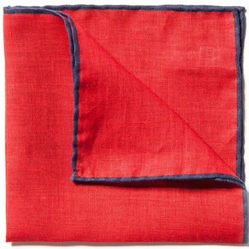 Caravaggio Men's The Linen Series Designer Pocket Square, 16.5 Inches, Red and Blue