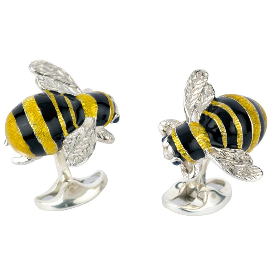 Deakin and Francis Bee Cufflinks, Sterling Silver, Sapphire Eyes
