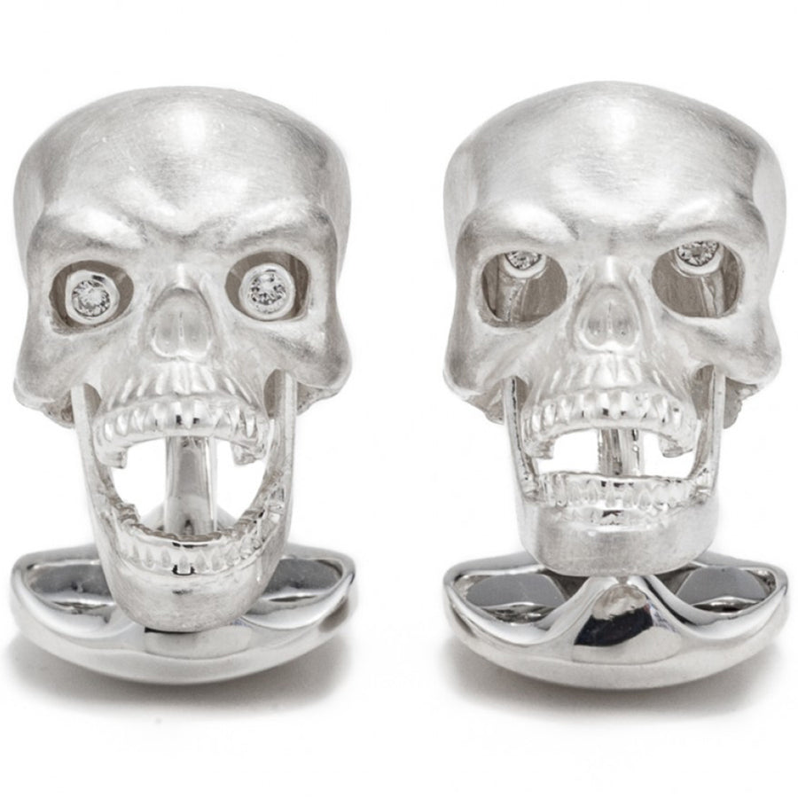 Deakin and Francis Skull Cufflinks with Diamond Eyes and Moving Jaw, Sterling Silver - upscaleman.myshopify.com