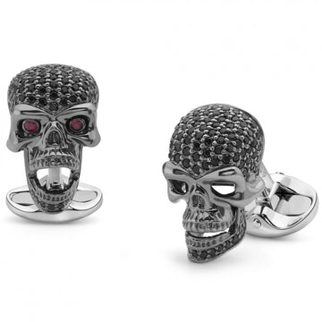 Deakin and Francis Skull Cufflinks, Sterling Silver, Black Spinel