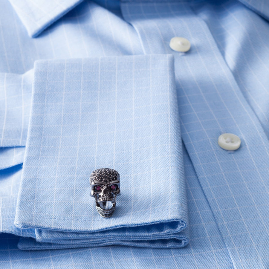 Deakin and Francis Skull Cufflinks, Sterling Silver and Black Spinel - Upscaleman