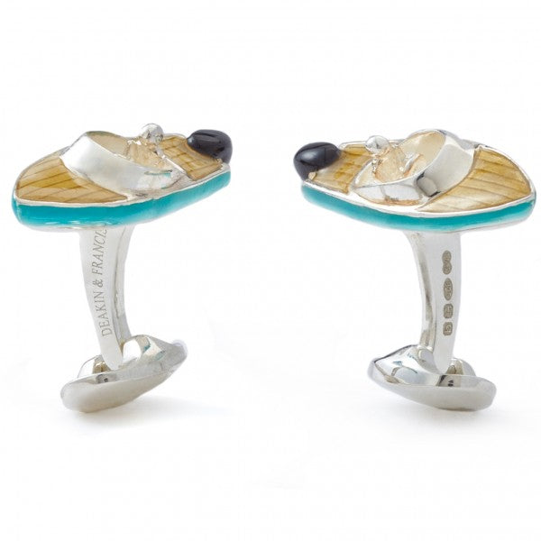 Deakin and Francis Men's Sterling Silver Speed Boat Cufflinks