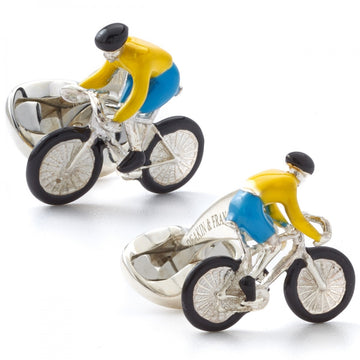 Deakin and Francis Men's Sterling Silver Bicycle Cufflinks, Yellow and Blue