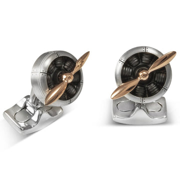 Deakin and Francis Fundamentals Mechanicals Sop with Engine in Rose Gold Cufflinks