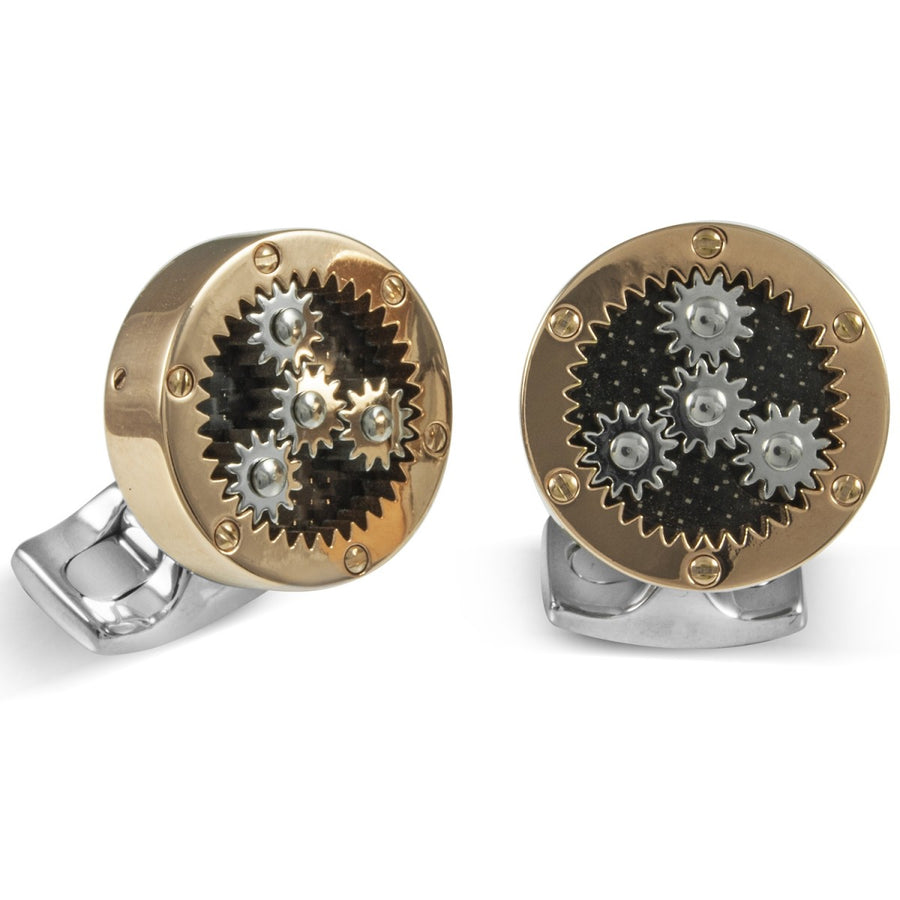Deakin and Francis Fundamentals Mechanicals Sun and Planet Gear Cufflinks, Rose Gold