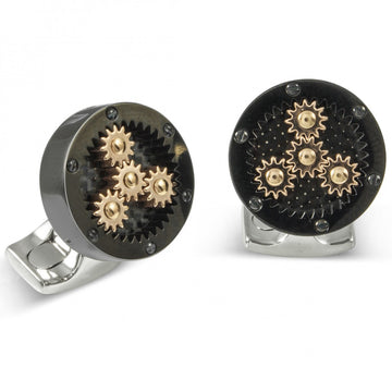 Deakin and Francis Fundamentals Mechanicals Sun and Planet in Polished Black Cufflinks