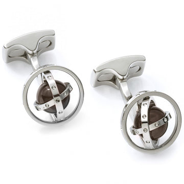 Deakin and Francis Fundamentals Mechanicals Gyro Spinning Gimbal with Quartz Cufflinks, White Rhodium
