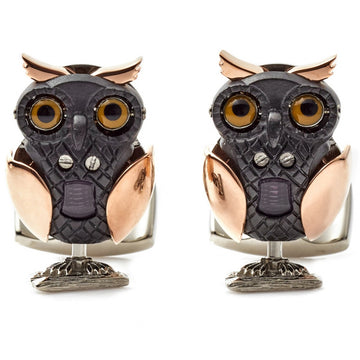 Deakin and Francis Fundamentals Beasts Owl Cufflinks, Rose Gold and Black IP - upscaleman.myshopify.com