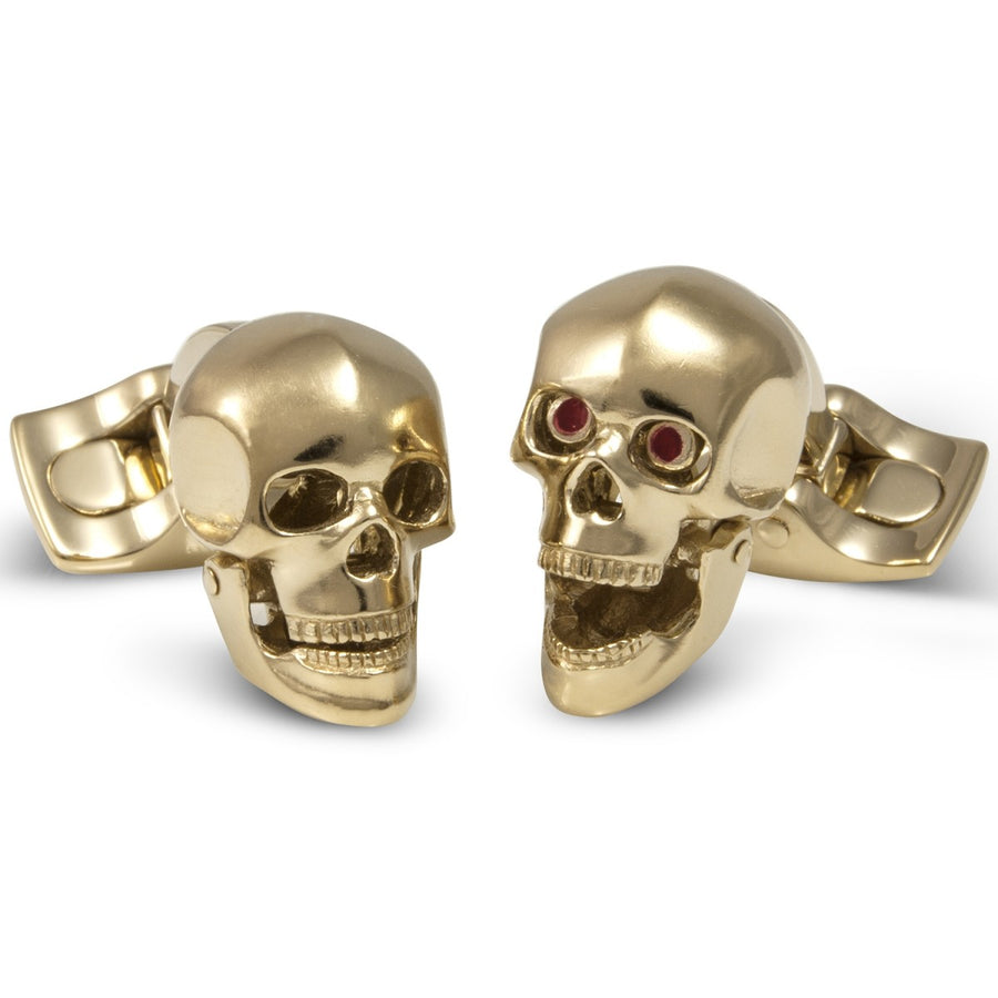 Deakin and Francis Yellow Gold Skull Cufflinks, Gold Plated