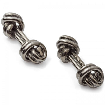 Deakin and Francis Double Knot Cufflinks, Dark Grey Rhodium
