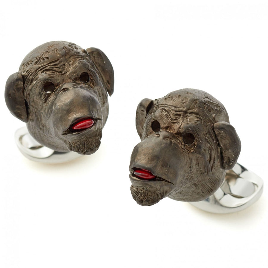 Deakin and Francis Sterling Silver Gold Plated Cheeky Monkey Cufflinks with Ruby Eyes