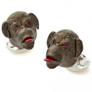 Deakin and Francis Sterling Silver Gold Plated Cheeky Monkey Cufflinks with Ruby Eyes - upscaleman.myshopify.com