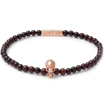 Deakin & Francis Garnet Rose Gold Skull Bracelet, Length 7 inches