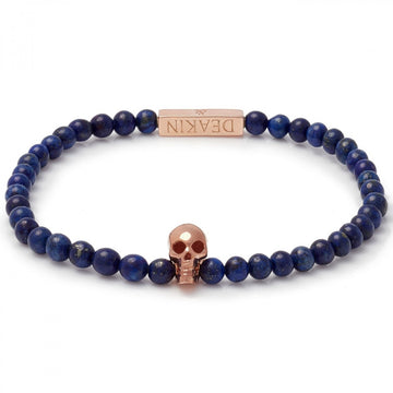Deakin & Francis Blue Lapis Rose Gold Skull Bracelet, Length 7.5 inches
