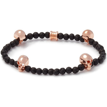 Deakin & Francis Lava Bead Rose Gold Skull Bracelet, Length 7 inches