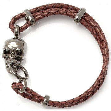 Deakin & Francis Leather Skull Bracelet, Brown, Length 8 inches